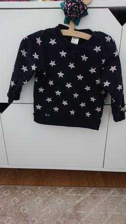 H&M 80 bluza dresowa w gwiazdki granatowa