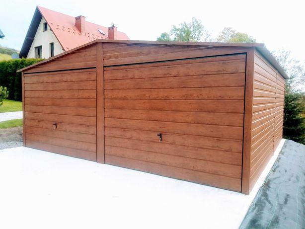 Garaż blaszany 6x5 drewnopodobny