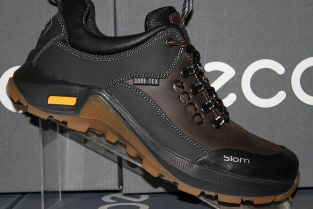 ECCO- туфли - кроссовки черно-коричневые кожаные. (код:9-3-17кор.)