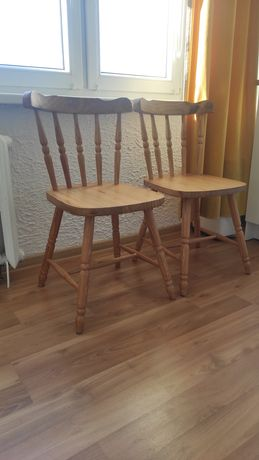 Komplet 2 krzeseł vintage PRL drewniane