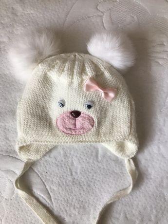 Зимняя тёплая шапка для девочки 36-38