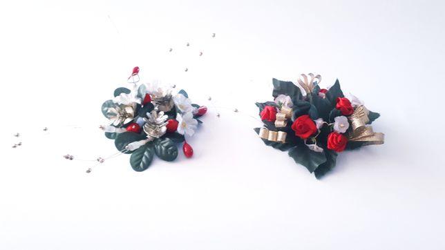 Elegancki, Świąteczny stroik na świeczkę - 2szt