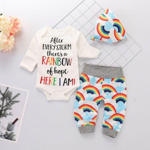 6-12M Newborn Baby Girls Boys Rainbow Long Sleeve Romper +Top +Pant+ H