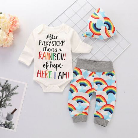 6-12M Newborn Baby Girls Boys Rainbow Long Sleeve Romper +Top +Pant+ H