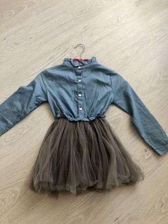 Платье джинс с фатином на рост 116