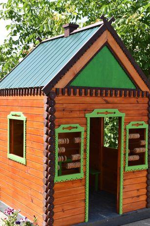 деревянный игровой домик для детской площадки