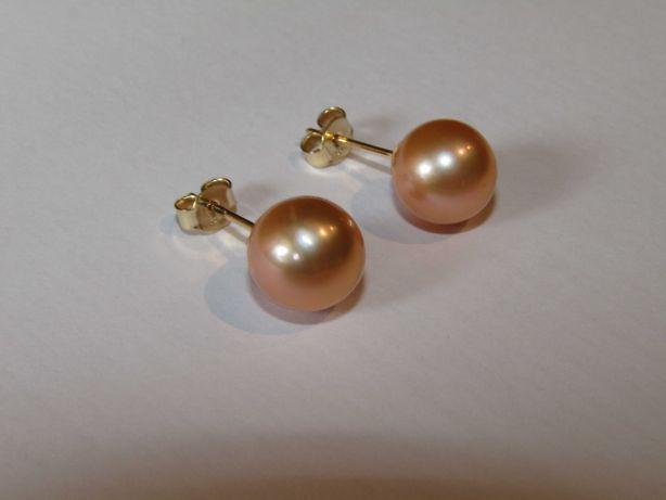 Brincos em ouro 14Kt com pérolas 9,5-10mm