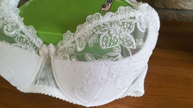 NOWY biustonosz/ stanik BIGGI Susan biały na duży biust 85D 75E 80E
