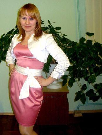 Розово-белое вечернее платье
