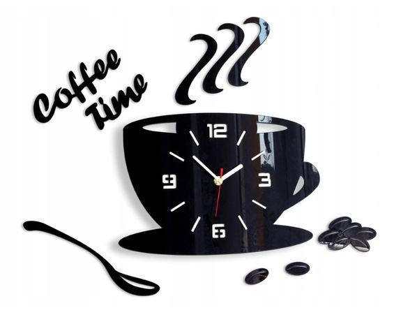 Zegar Ścienny Filiżanka Modny 3D LUSTRO