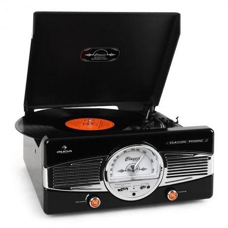 Gramofon radio FM lata 50-te retro czarny AUNA MG-TT-82B NOWY