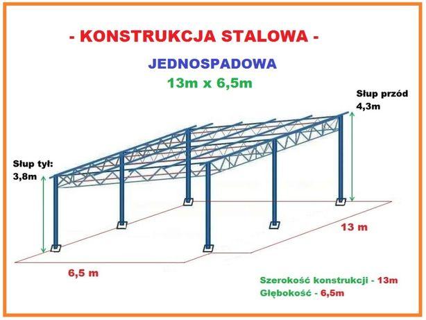 Konstrukcja skręcana Wiata rolna Garaż 13x6,5m Hala Magazyn Blaszak