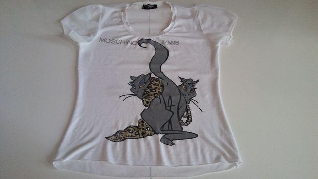 Moschino S bluzka basic, koty, cekiny