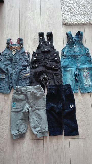 Ogrodniczki, spodnie, dresy r.68 komplet 40zł
