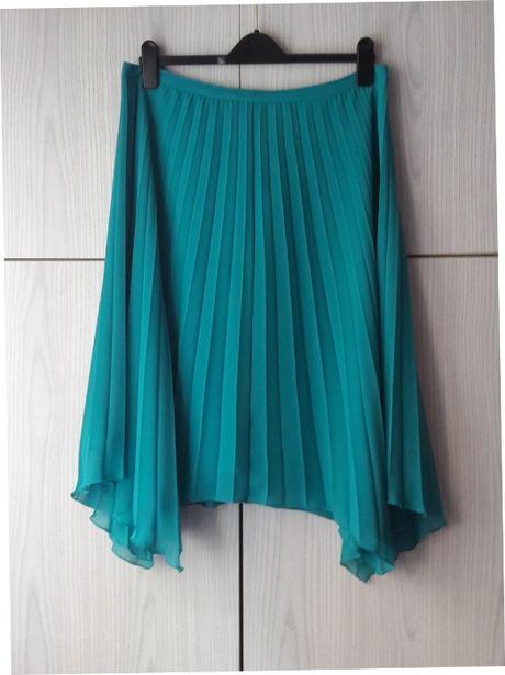 Turkusowa asymetryczna spódnica plisowana na podszewce vintage retro