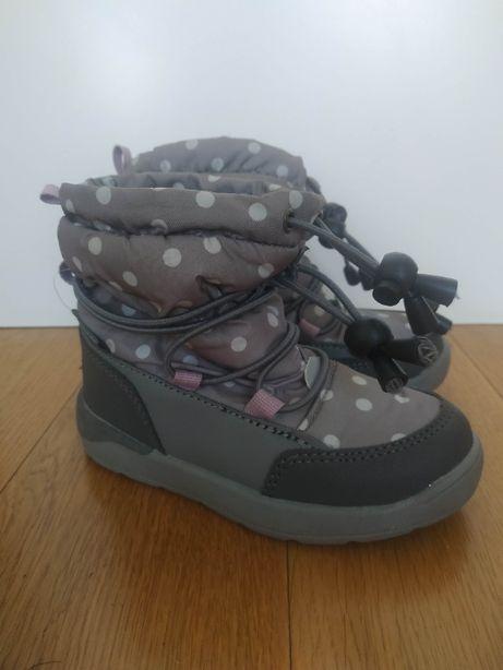 25 NOWE śniegowce buty zimowe szare w kropki polar za kostkę