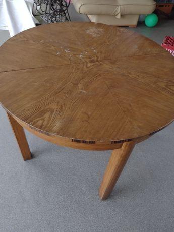 Stół okrągły drewniany rozkładany  PRL