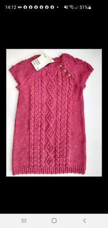 H&M dzianinowa sukienka splot 92cm Nowa