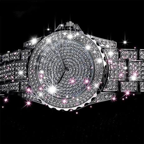 Zegarek damski kwarcowy cyrkonie srebrny