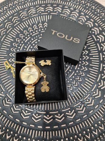 Złoty zestaw Tous zegarek, naszyjnik i kolczyki