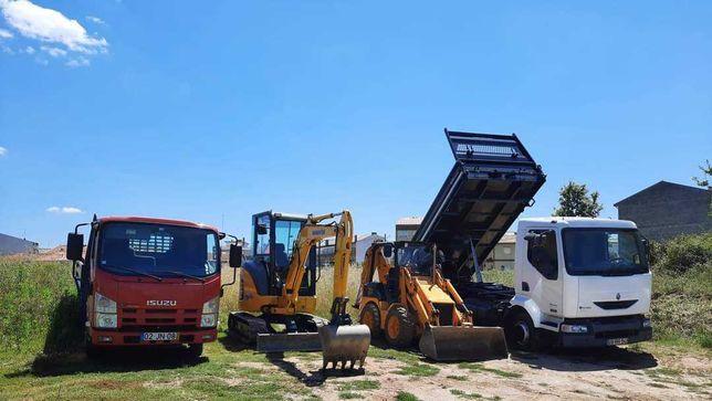 Escavações, Movimentação de terras, Transportes, Desaterros.