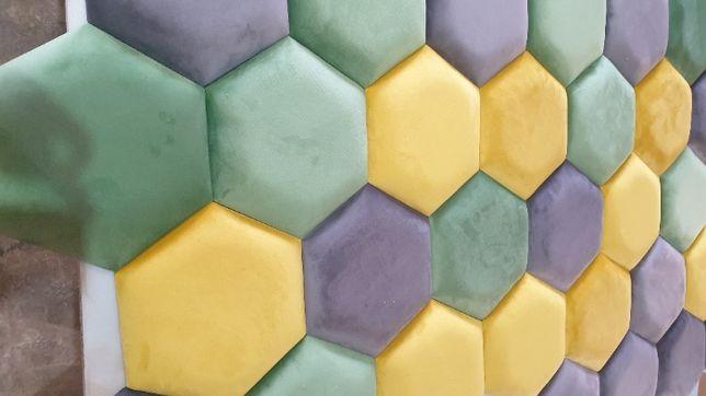 Heksagon Panele tapicerowane wnęki ścianki sypialnie na wymiar 25/25