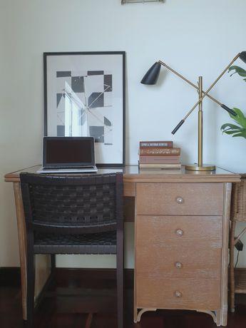 secretaria, mesa, verga, rustico, floreira