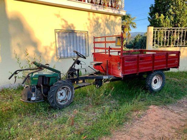 Motocultivador e reboque