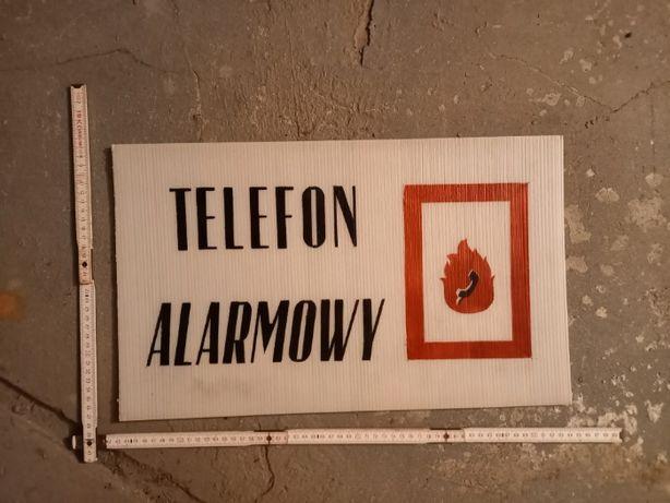 """Tablica PRL """"Telefon alarmowy"""", unikat, płyta komorowa"""