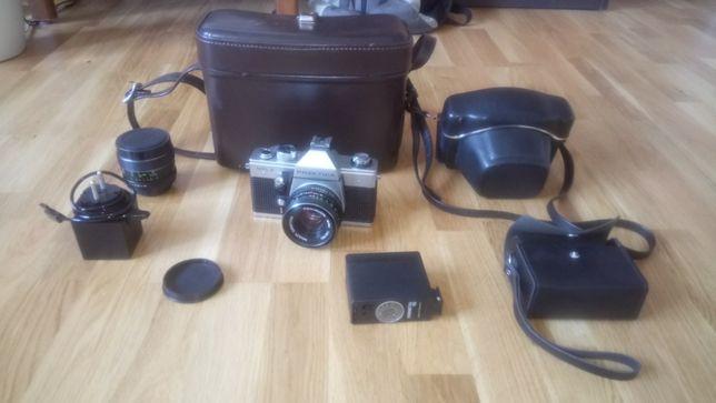 aparat lustrzany Praktica MTL 3 obiektyw Pentacon 1.8/50 i osprzęt