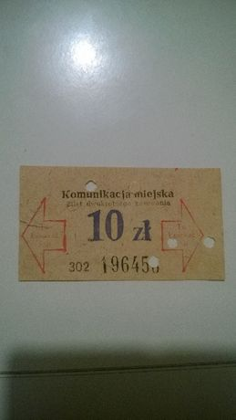 Bilet tramwajowy Poznań 10 zlotych
