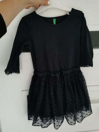 Granatową sukienka z tiulem 92 united colors of benetton