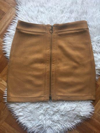 spódnica zamszowa mini zip