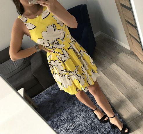 Żółta biała rozkloszowana sukienka na ramkach krótka mohito 36 S nowa