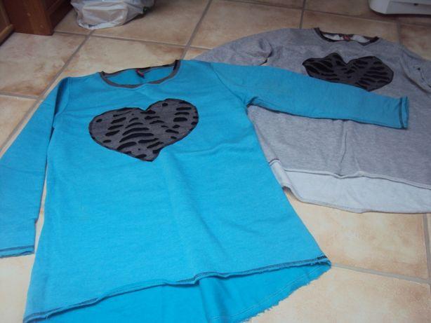 Tunika bluza serce dwie 25 zł niebieska szara l/xl 40/42
