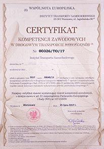 Certyfikat Kompetencji - przewóz osób - użyczę