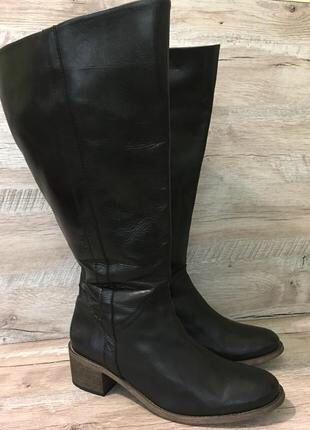 Женские демисезонные кожаные сапоги с широким голенищем 41,5-42 р.
