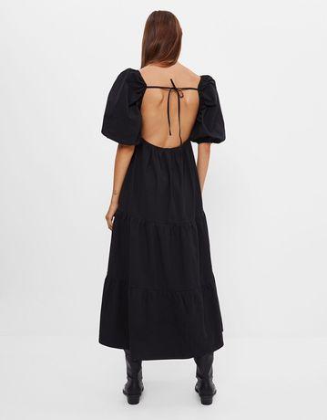 Поплиновое платье с открытой спинкой bershka zara asos mango