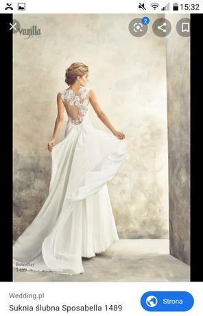 Delikatna, zwiewna suknia ślubna - rozmiar 36