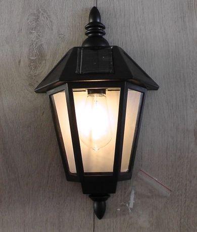 Solarna lampa ścienna z żarówką żarnikową