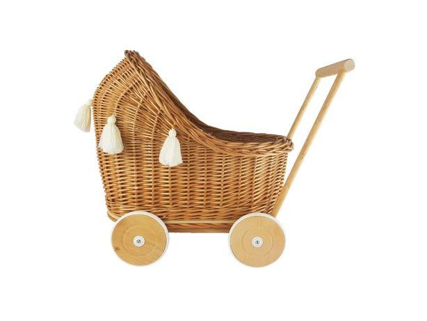wiklinowy wózek dla lalek z chwostami