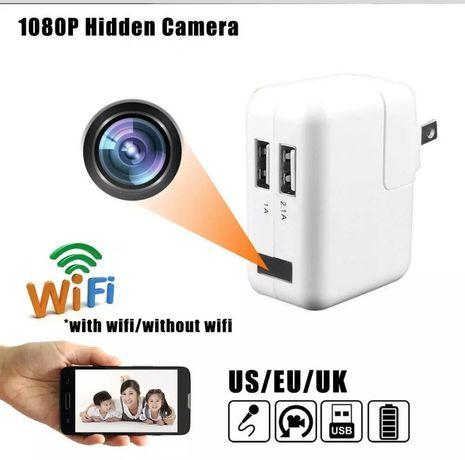 Carregador telemóvel com Spy Cam HD Wi-Fi e Micro SD Card até 32 Gb