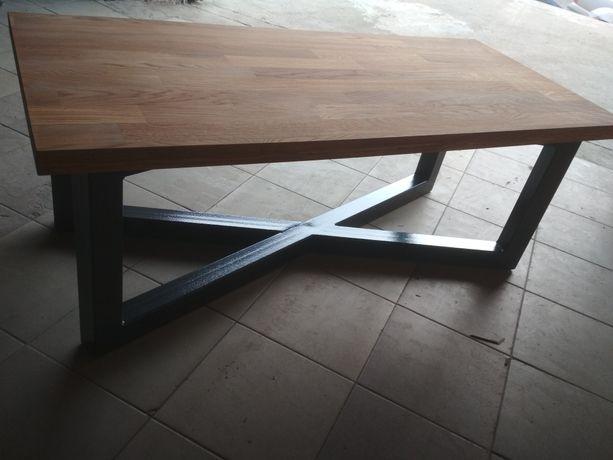 Ława, stół dębowy, industrialny. Nowy.