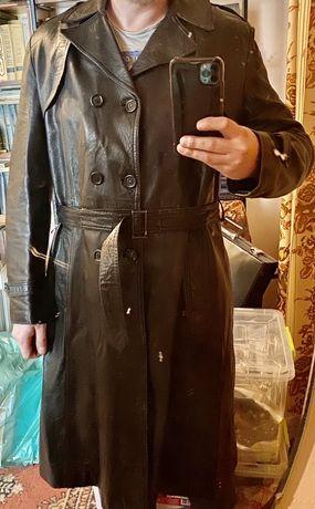 Продам кожанное пальто черное, кожанный плащ, шкіряне пальто
