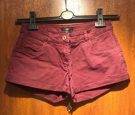 Jeansowe bordowe spodenki S