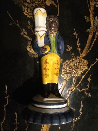 Castiçal Escultura Blackamoor cerâmica Caldas da Rainha 23 cm Assinada