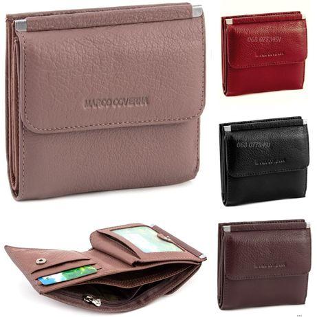 Женский маленький кожаный кошелек клатч на кнопке Marco Coverna
