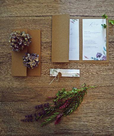 Zaproszenia ślubne w kwiatowo - jesiennej kolorystyce.