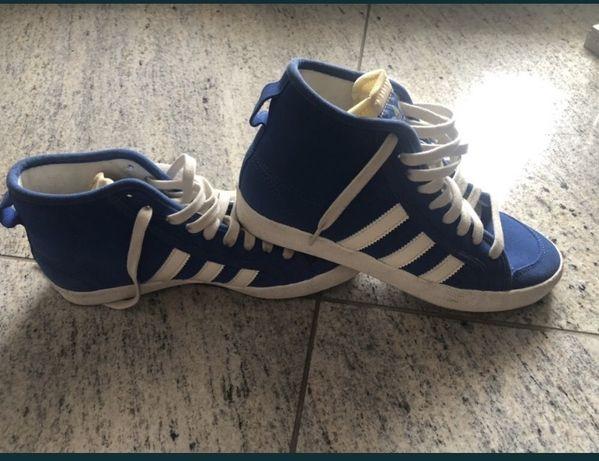 Buty Adidas niebieskie wysokie jesien 40 1/3