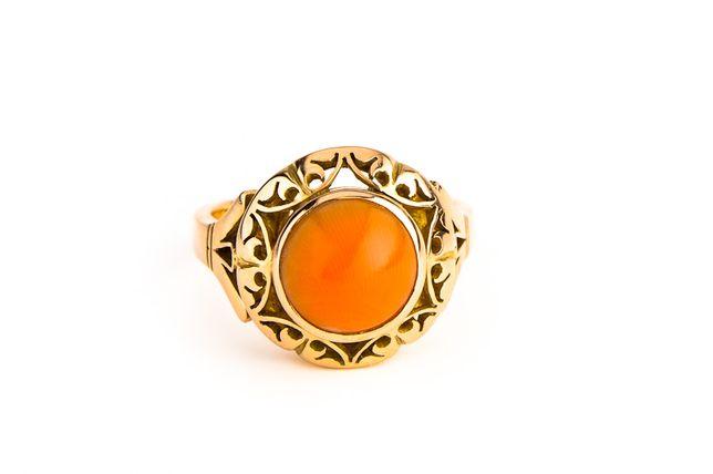Ażurowy Złoty Pierścionek - 14K - 7,74g - Koral - LOMBARD KRAKÓW